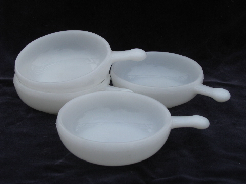 Vintage milk white oven proof glass handled soup bowls