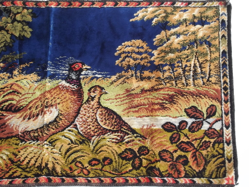 Vintage pheasant game birds wall hanging tapestry rug