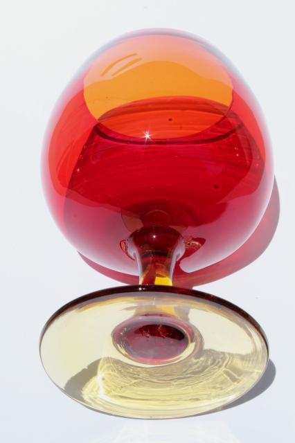 vintage red orange amberina art glass vase big brandy