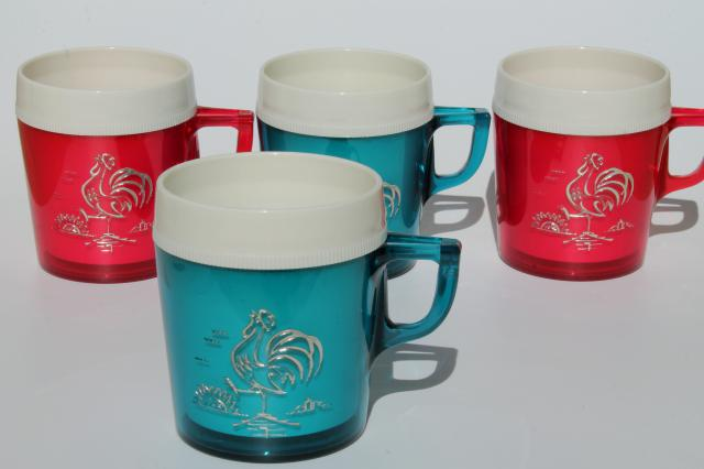 vintage red white and blue plastic picnic cups insulated