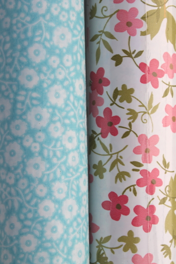 Vintage shelf paper  contact paper lot in retro flowers
