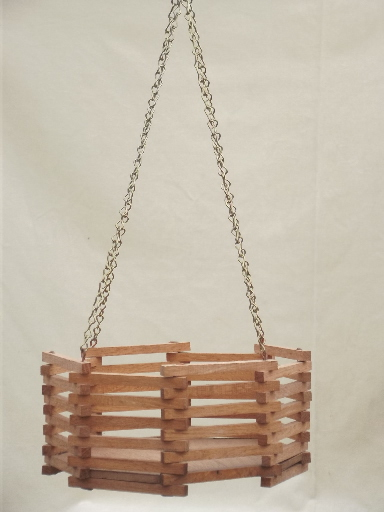 Vintage slatted wood planter box retro 70s  80s hanging