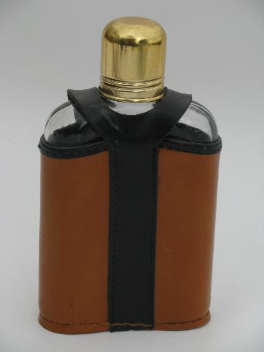 Vintage Swank pocket flask glass bottle w leather case cover