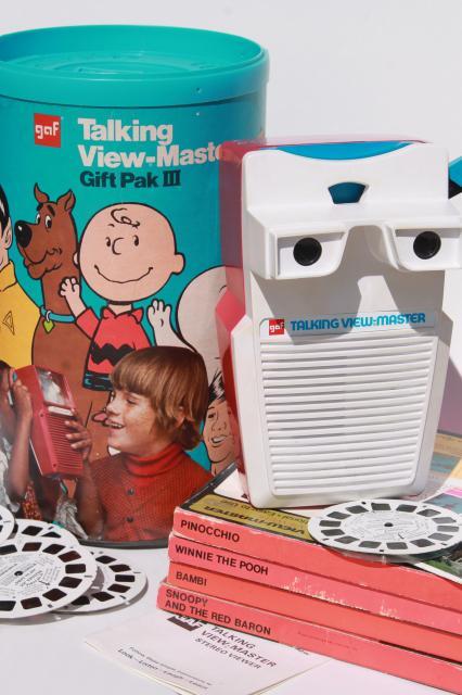 Vintage Talking Viewmaster W Reels Pooh Bambi Snoopy Reel Sets