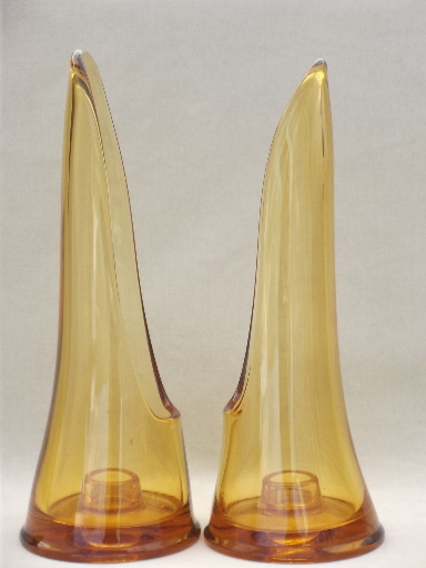 Vintage taperglow candle holders MCM retro amber glass