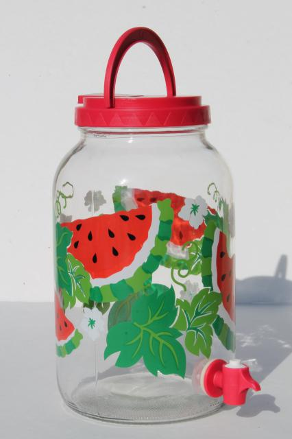watermelon print gallon sun tea jar glass jar beverage