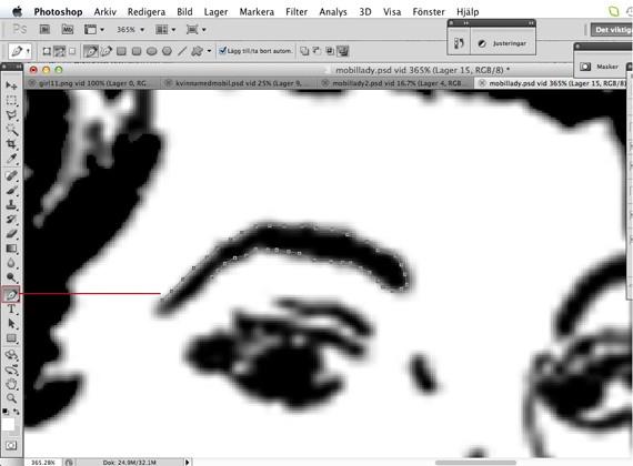 pen tool on retro image