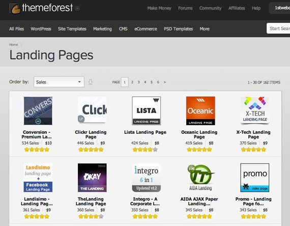Themeforest landing pages
