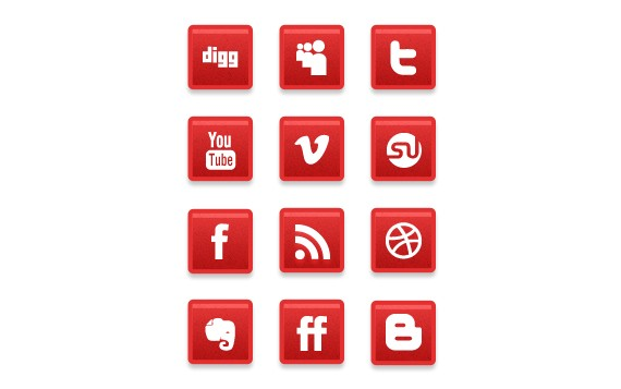 A Simple Subtle Red Grunge Social Media Icons