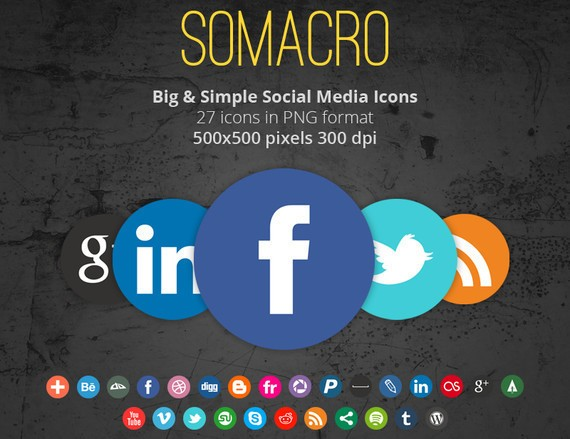 Somacro: 27 300DPI Social Media Icons