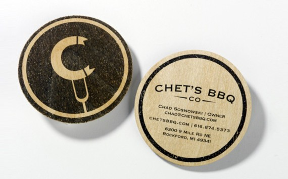 creative minimal business card design inspiration Chet's BBQ ID and business card