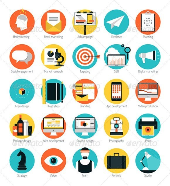 Design Services Flat Icons Set