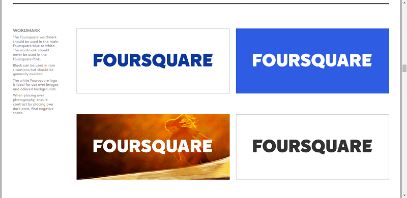 Foursquare style guide includes its wordmark, logo, and social media icons.