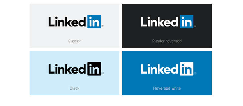 Visual identity, color, downloads, and product screenshots are part of the LinkedIn guideline
