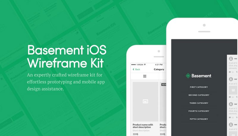 Basement iOS Wireframe UI Kit