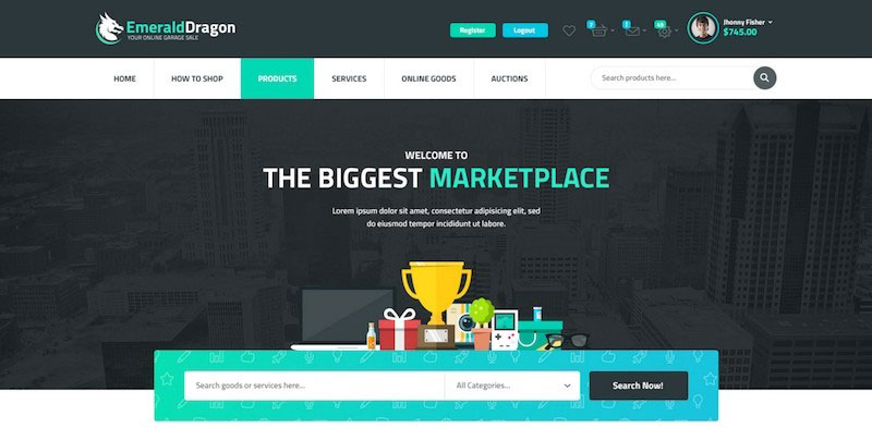 Emerald Dragon - PSD Multipurpose Marketplace