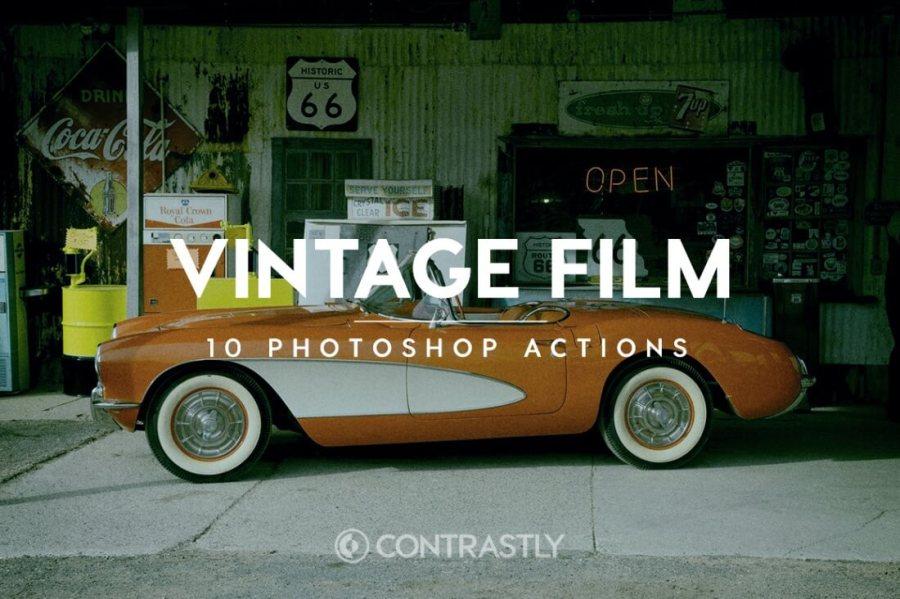 Vintage Film Photoshop Action Bundle Contrastly