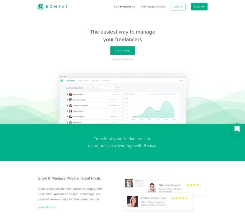hero design web example landing page Bonsai