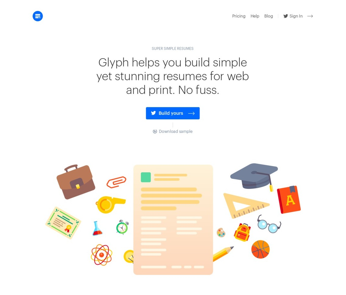 hero design web example landing page Glyph