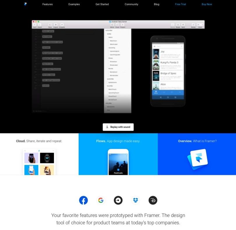 hero design web example landing page Framer