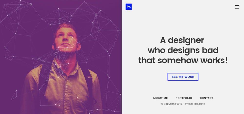 Primal split screen web design layout