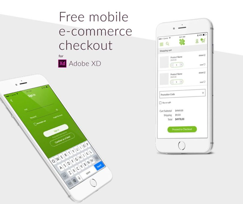 ecommerce cart xd freebie