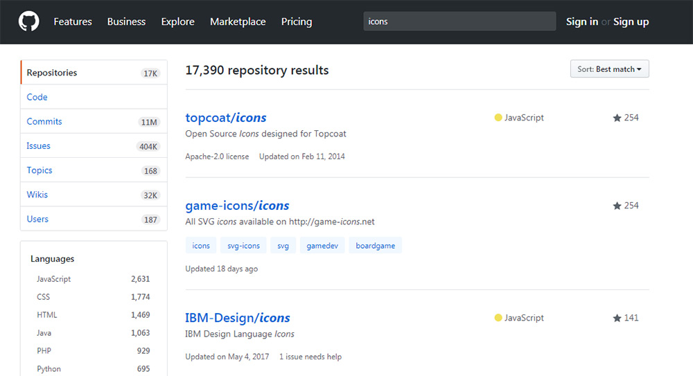 GitHub icons search