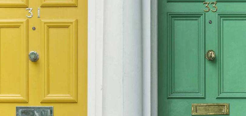 Two doors of different colors.