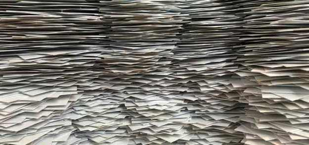 A large stack of paper