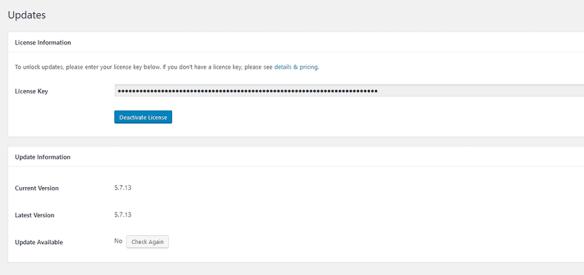 A plugin license key page.