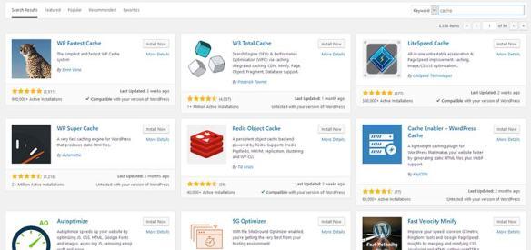 A listing of WordPress cache plugins.