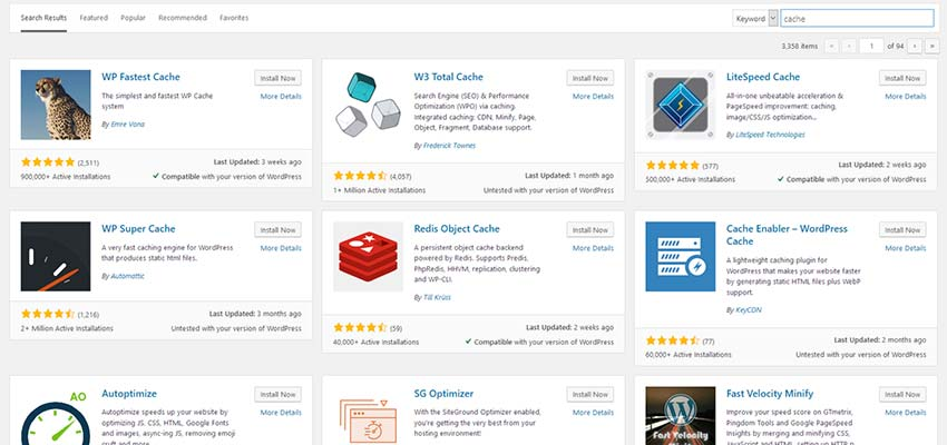 A listing of WordPress cache plugins.