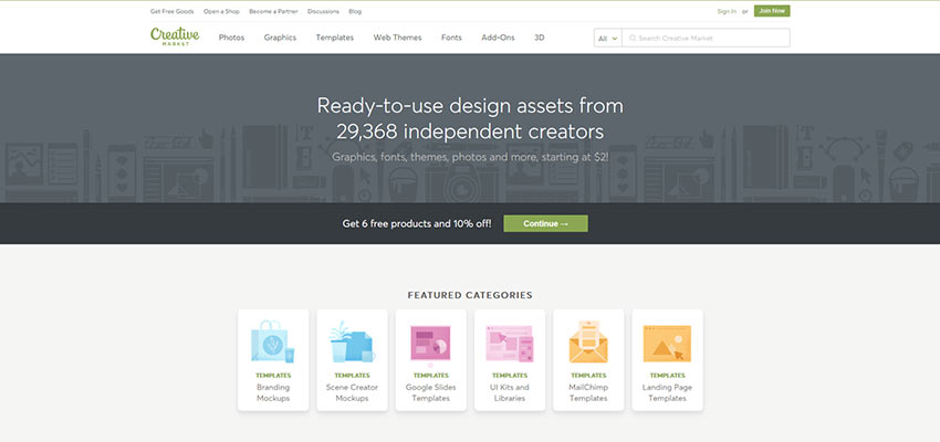 Screen from Creative Market
