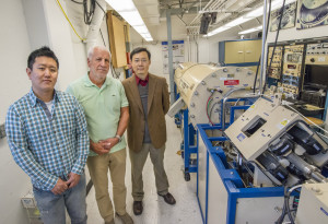 (From left) Joonki Suh, Wladek Walukiewicz and Junqiao Wu  achieved the highest ZT value ever recorded for bismuth telluride at room temperature by introducing native defects into the material through alpha particle irradiation. (Photo by Roy Kaltschmidt)