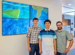 (From left)Jim Schuck, Wei Bao and Nicholas Borys at the Molecular Foundry where they made surprising discoveries about 2D MoS2, a promising TMDC semiconductor for future photonic and nanoelectronic devices. (Photo by Roy Kaltschmidt)