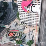 Rappelling the Bonaventure Hotel-downtown L.A. below.