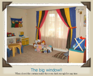 Those curtains are made with a soft blanket fabric that the little ones loved to hug.