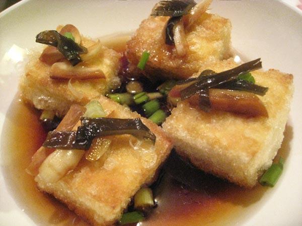 crisp fried tofu with garlic tsukemono