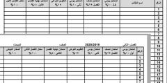 دفتر العلامات للصفوف 5-12 حسب التقسيم النهائي 2020/2019