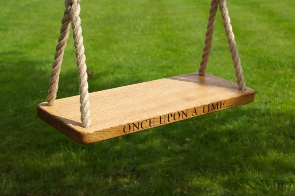 Engraved Oak Swings With Rope
