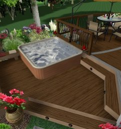 hot tub deck rendering with levels [ 1024 x 819 Pixel ]