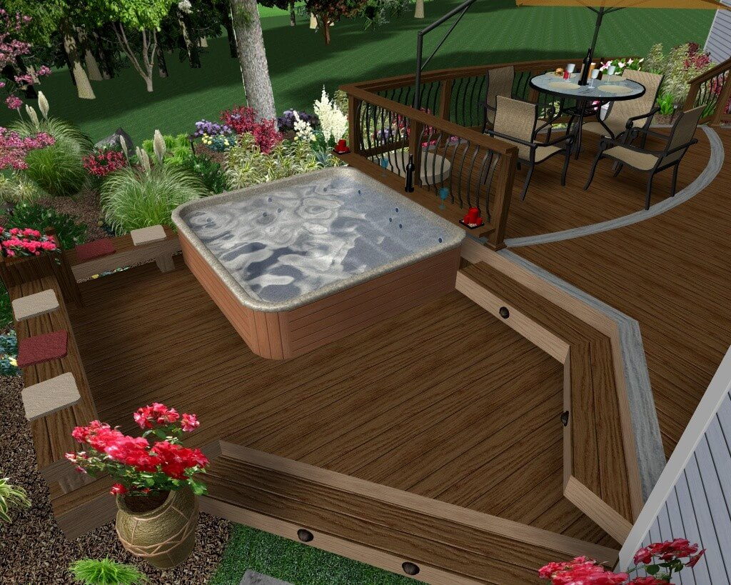 hight resolution of hot tub deck rendering with levels