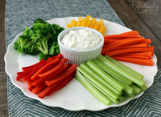 Tray Of Fresh Vegetables With Ranch Dressing