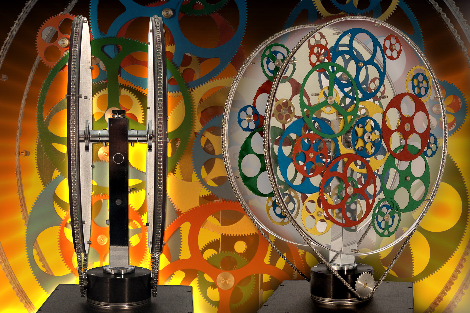 kinetic gear sculpture illustrates