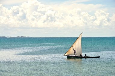 A dhow, the traditional sailboat of the Swahili coast
