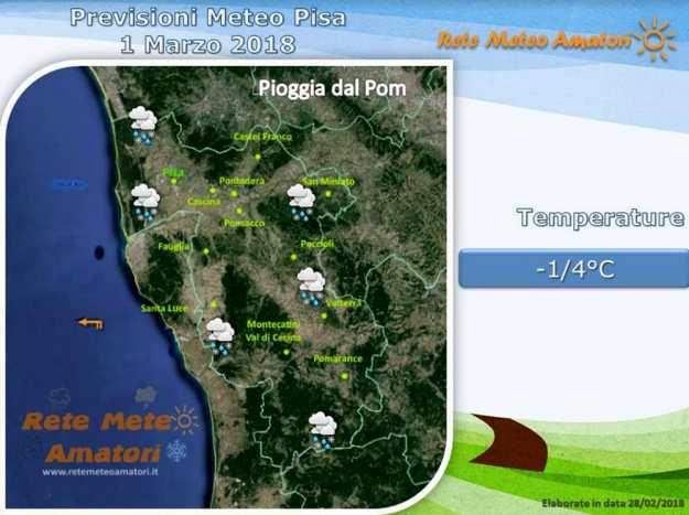 Previsioni meteo a Pisa: prima la neve, poi la pioggia