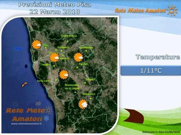 Previsioni meteo a Pisa: giornata di sole, vento in calo