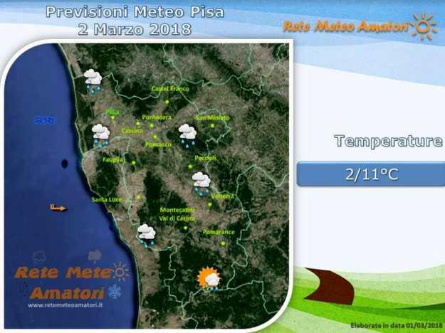 Previsioni meteo a Pisa: un venerdì di pioggia
