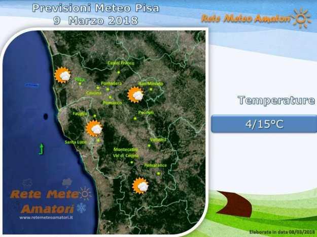 Previsioni meteo a Pisa: giornata di sole, con qualche nuvola