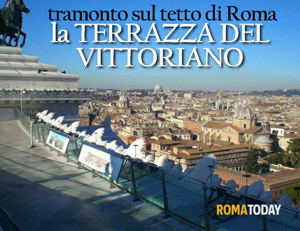 Tramonto sul tetto di Roma dalla terrazza del Vittoriano